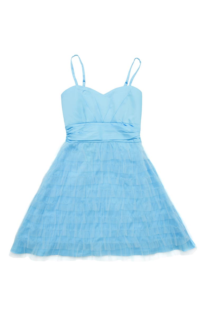 STELLA M'LIA Tiered Tulle A-Line Dress, Main, color, PALE BLUE