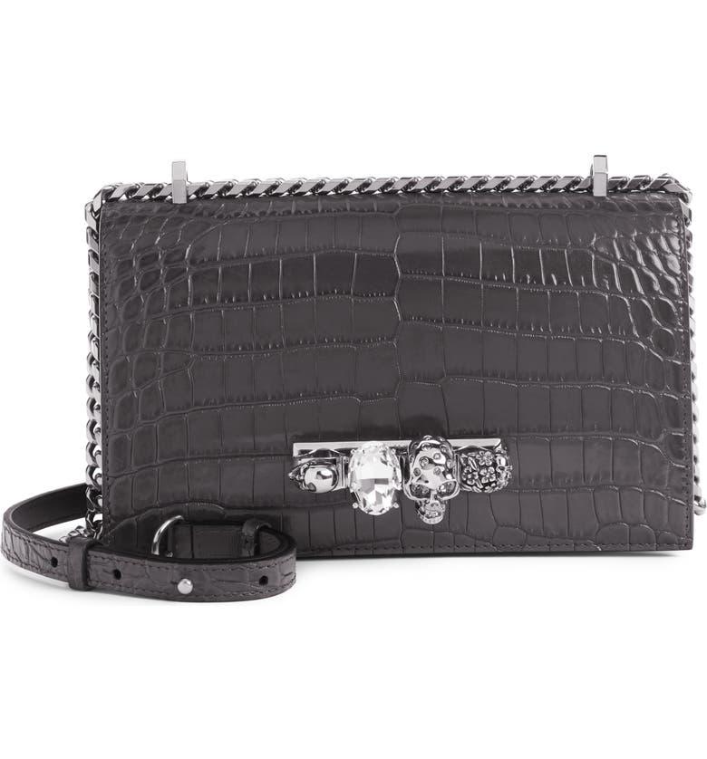 ALEXANDER MCQUEEN Croc Embossed Leather Crossbody Bag, Main, color, DARK GRAPHITE
