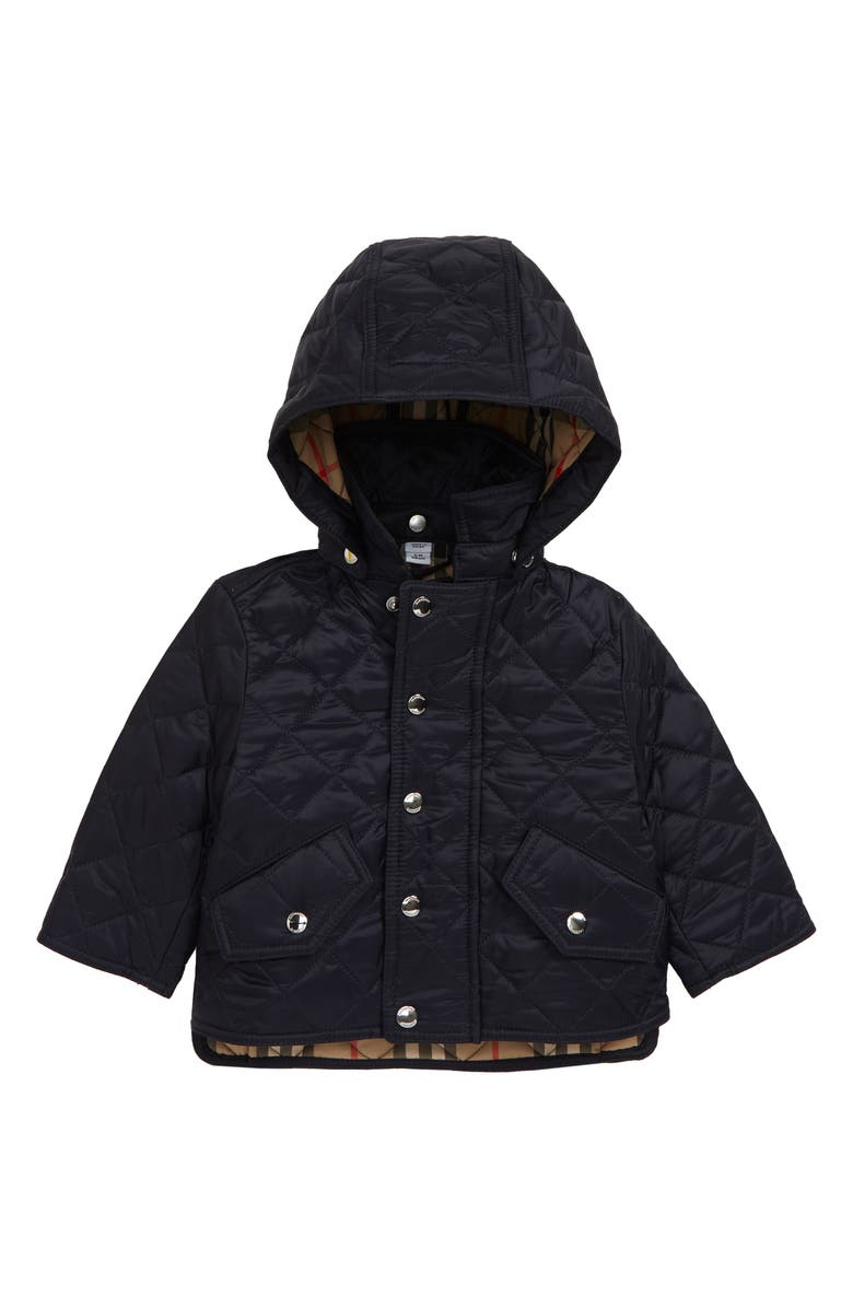 BURBERRY Ilana Diamond Quilted Hooded Jacket, Main, color, NAVY
