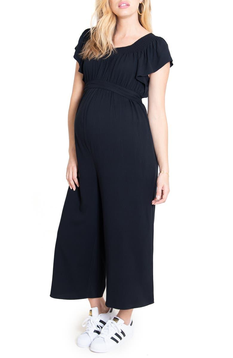INGRID & ISABEL<SUP>®</SUP> Flutter Sleeve Maternity/Nursing Jumpsuit, Main, color, BLACK