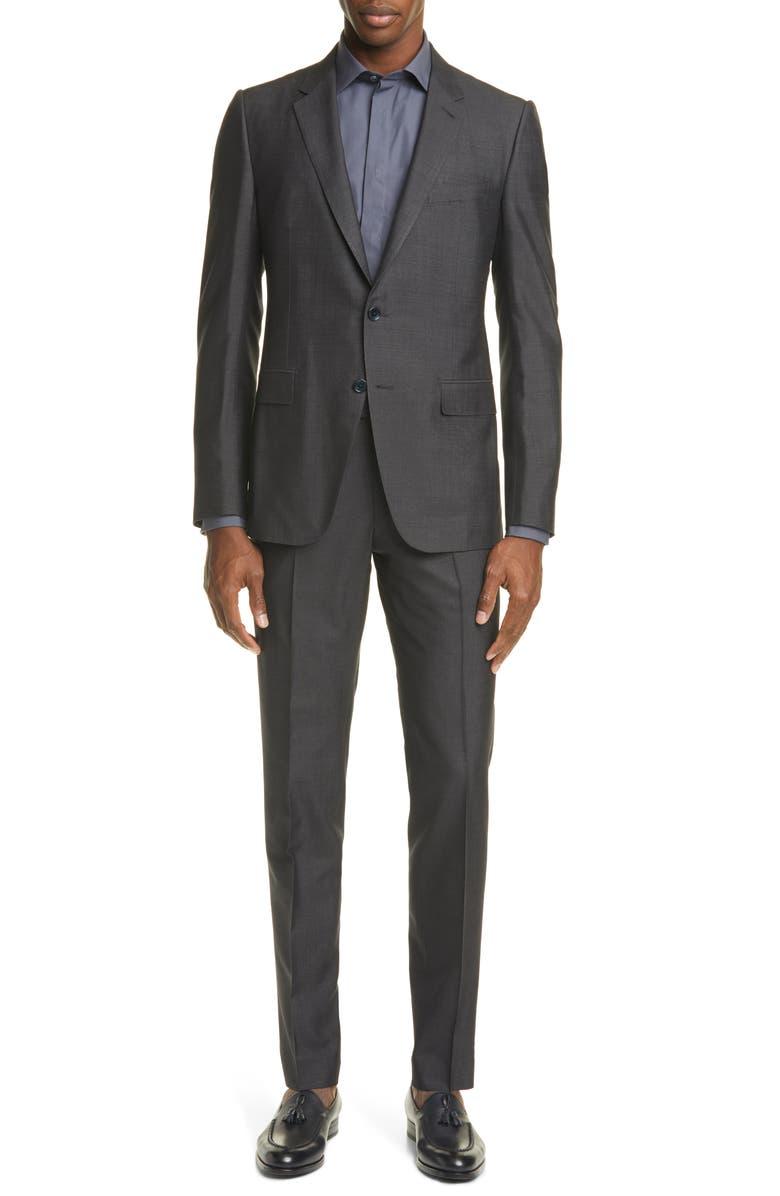 ERMENEGILDO ZEGNA Classic Fit Solid Silk & Wool Suit, Main, color, CHARCOAL