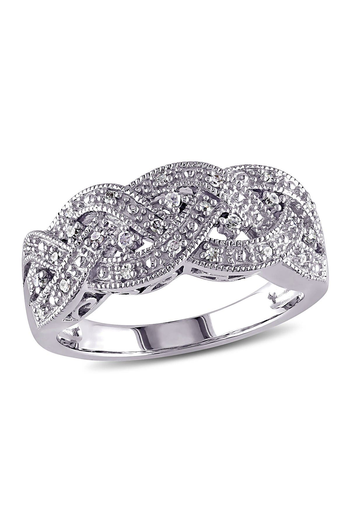 Image of Delmar Sterling Silver Diamond Woven Ring - 0.13 ctw