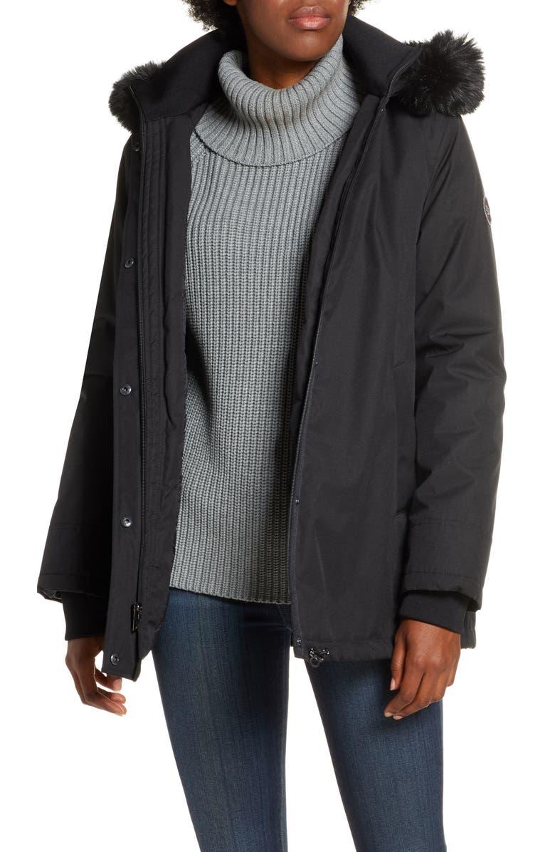 UGG<SUP>®</SUP> Bernice Faux Fur Trim Waterproof Parka, Main, color, BLACK