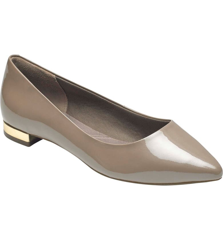 ROCKPORT 'Total Motion - Adelyn' Ballet Flat, Main, color, TAUPE GREY PEARL PATENT