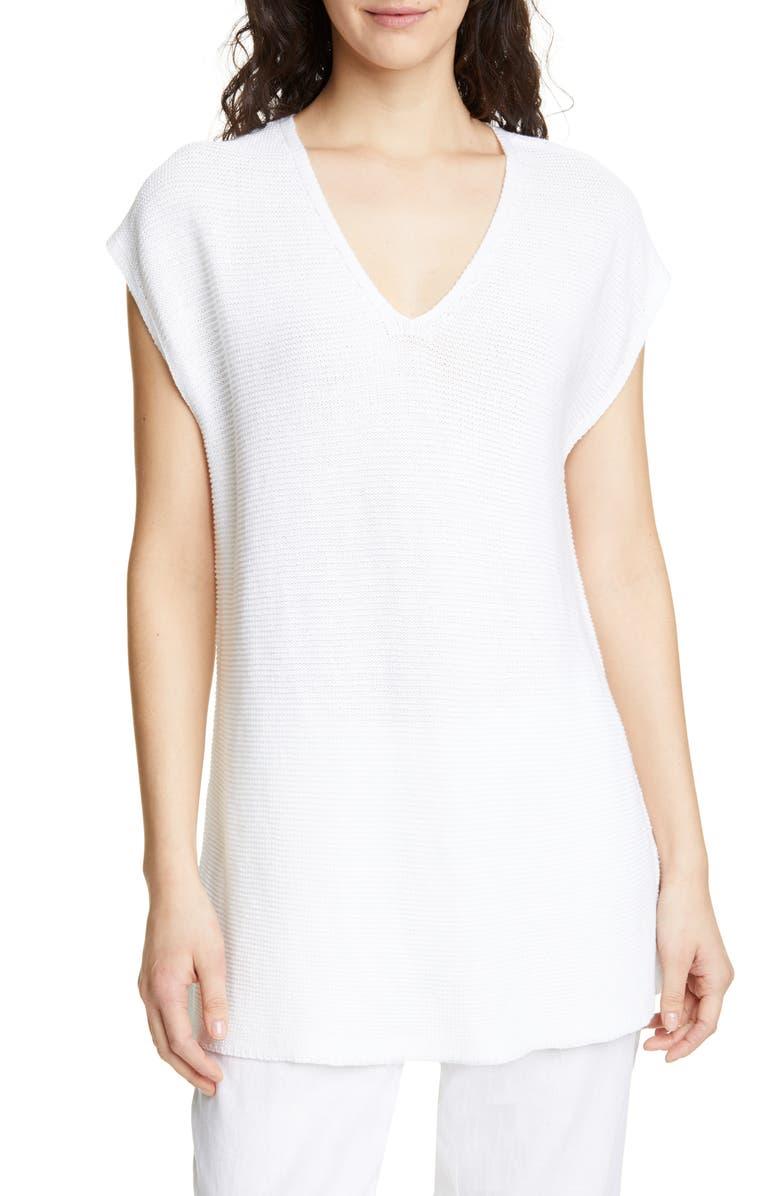 EILEEN FISHER V-Neck Organic Linen & Cotton Tunic, Main, color, WHITE
