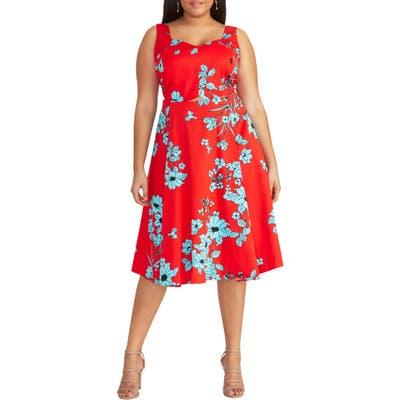 Plus Size Rachel Rachel Roy Cutout Floral Midi Sundress, Red