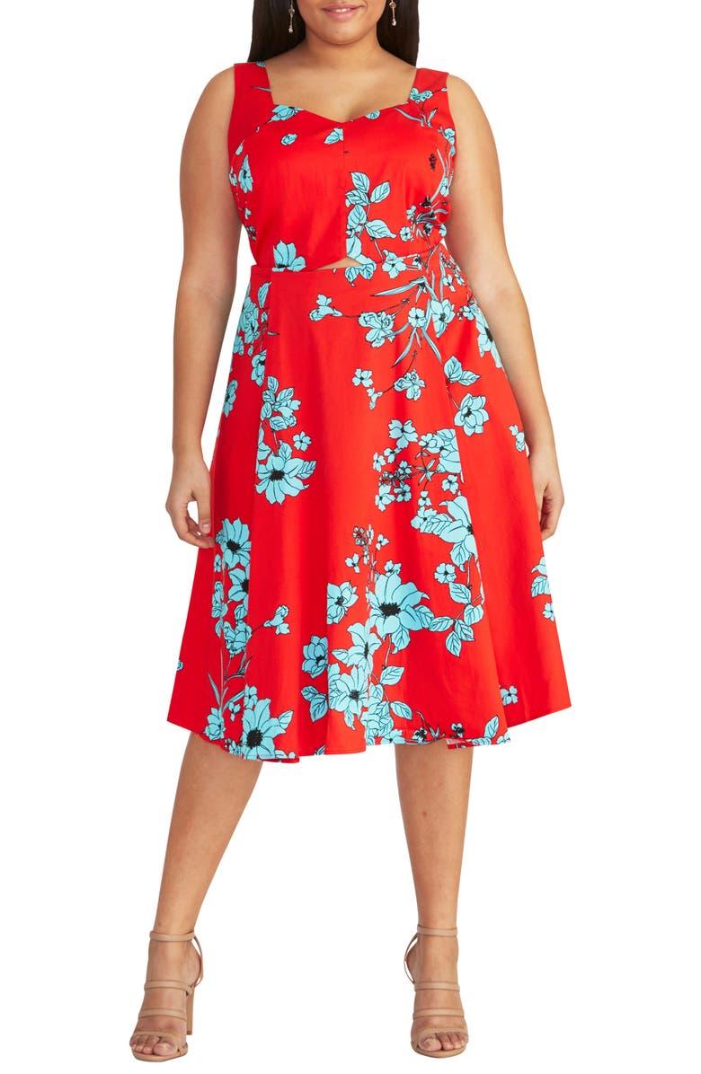 RACHEL RACHEL ROY Cutout Floral Midi Sundress, Main, color, 619