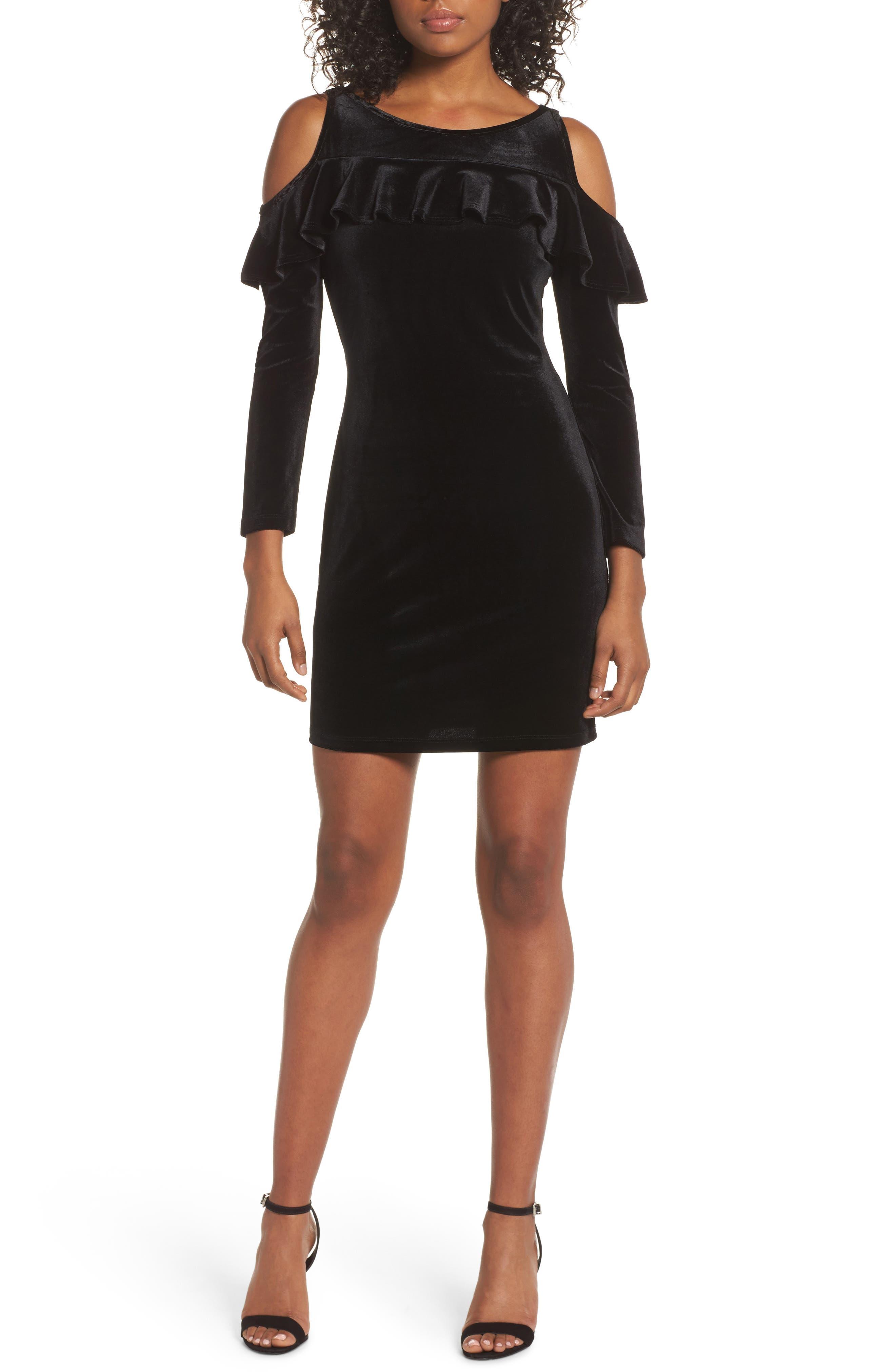 Image of Fraiche By J Velvet Cold Shoulder Sleeve Mini Dress