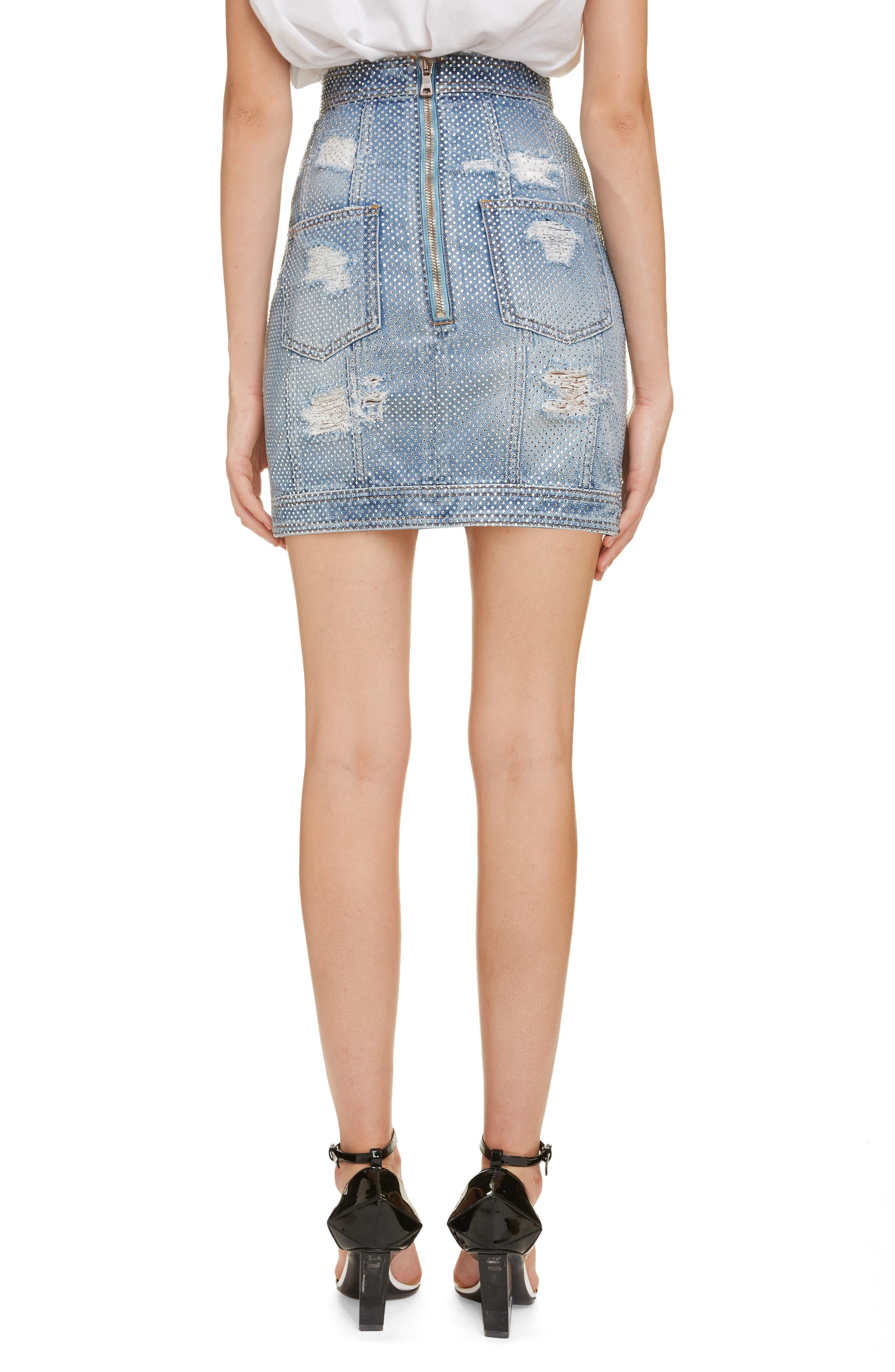 ,                             Crystal Studded Denim Skirt,                             Alternate thumbnail 2, color,                             SAD BLEU/ ARGENT
