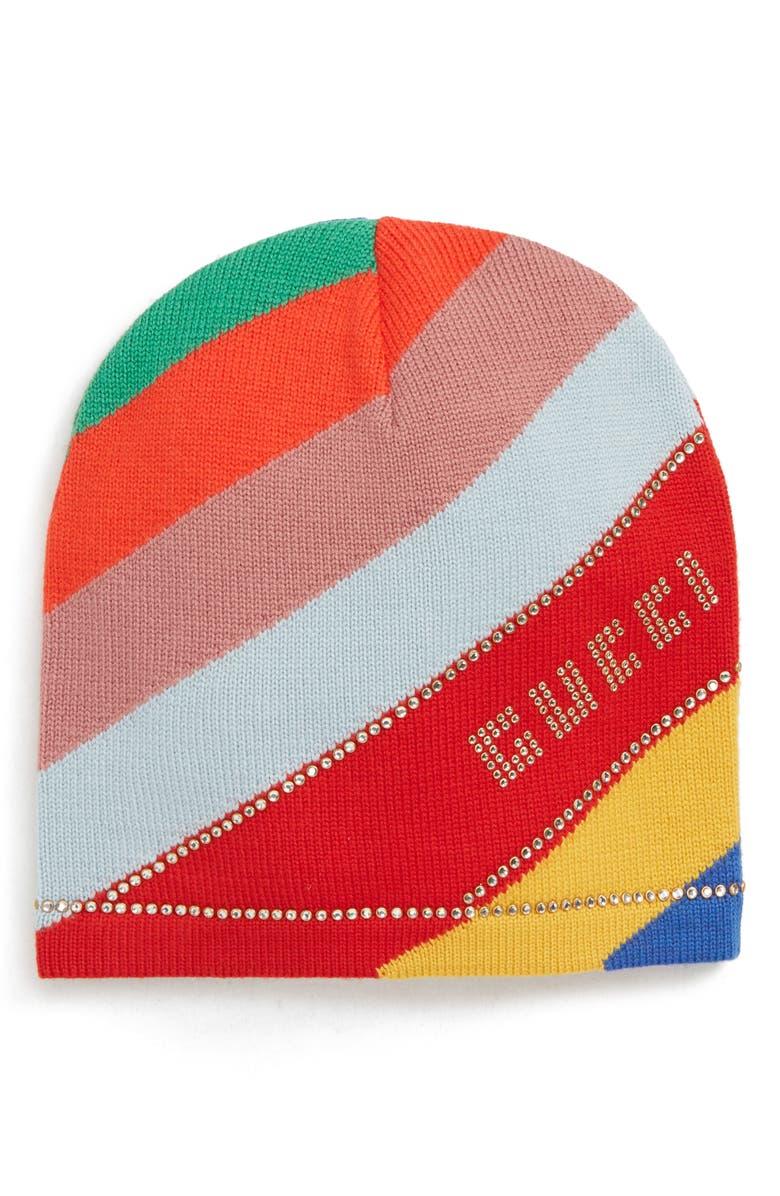 GUCCI Crystal Logo Stripe Wool Beanie, Main, color, MULTICOLOR