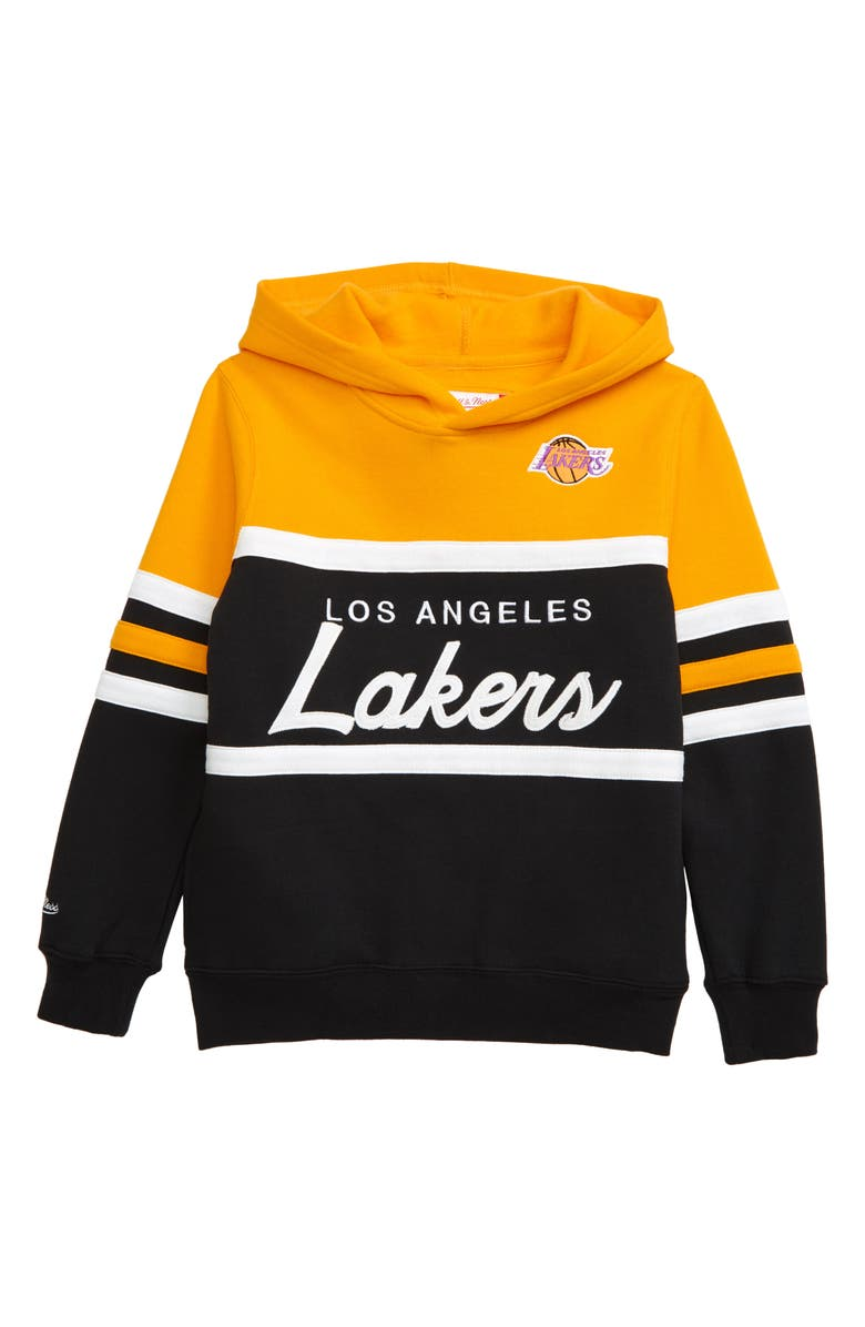 MITCHELL & NESS Los Angeles Lakers Head Coach Hoodie, Main, color, YELLOW/ BLACK