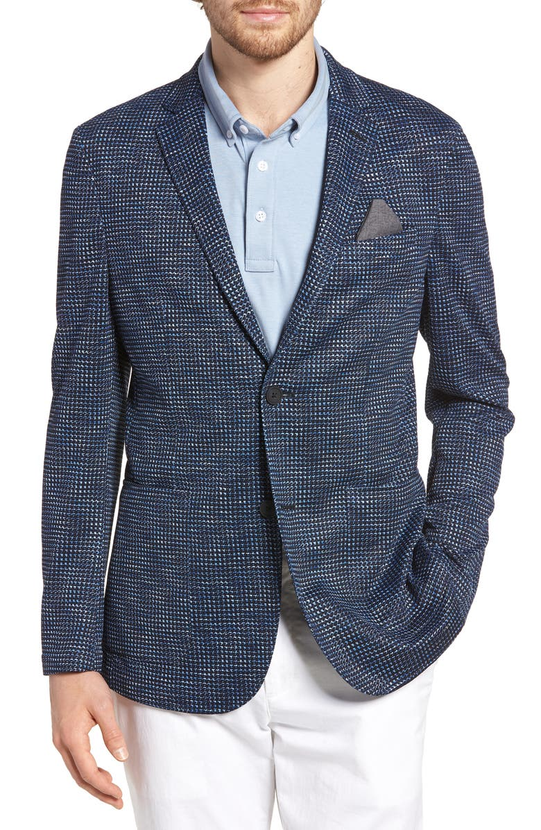 Vince Camuto Houndstooth Slim Fit Performance Mesh Blazer