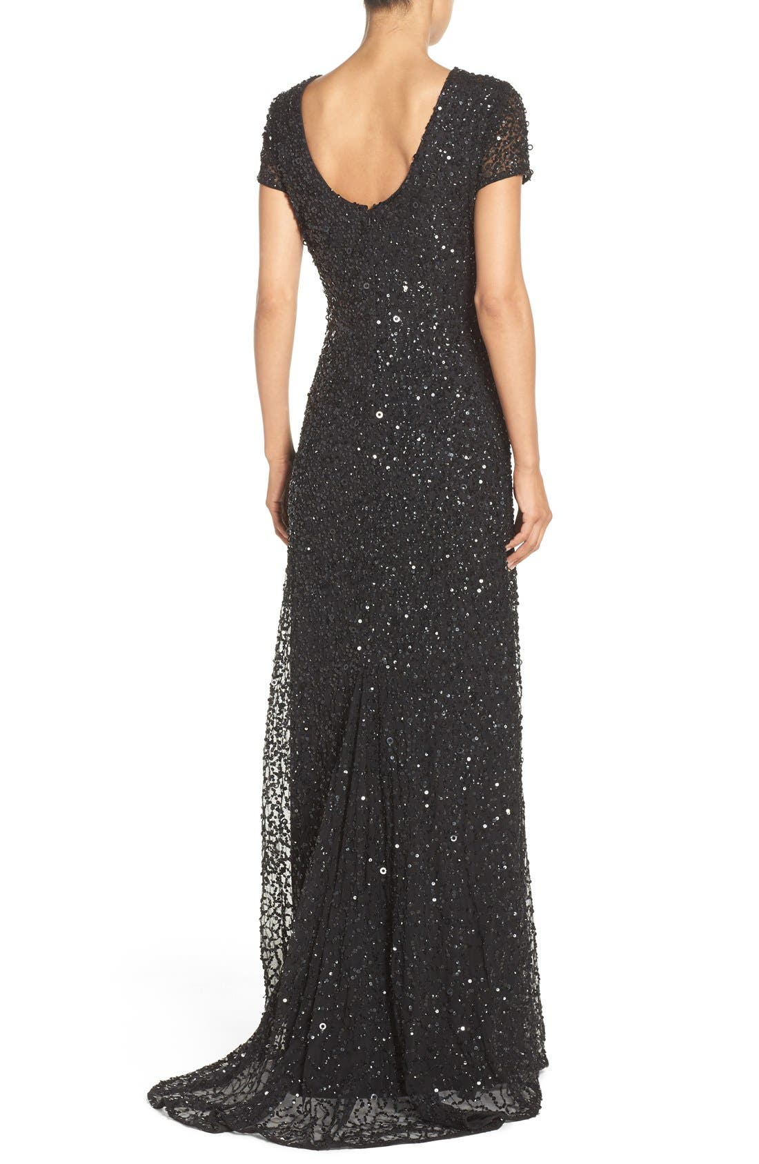 ,                             Short Sleeve Sequin Mesh Gown,                             Alternate thumbnail 4, color,                             002