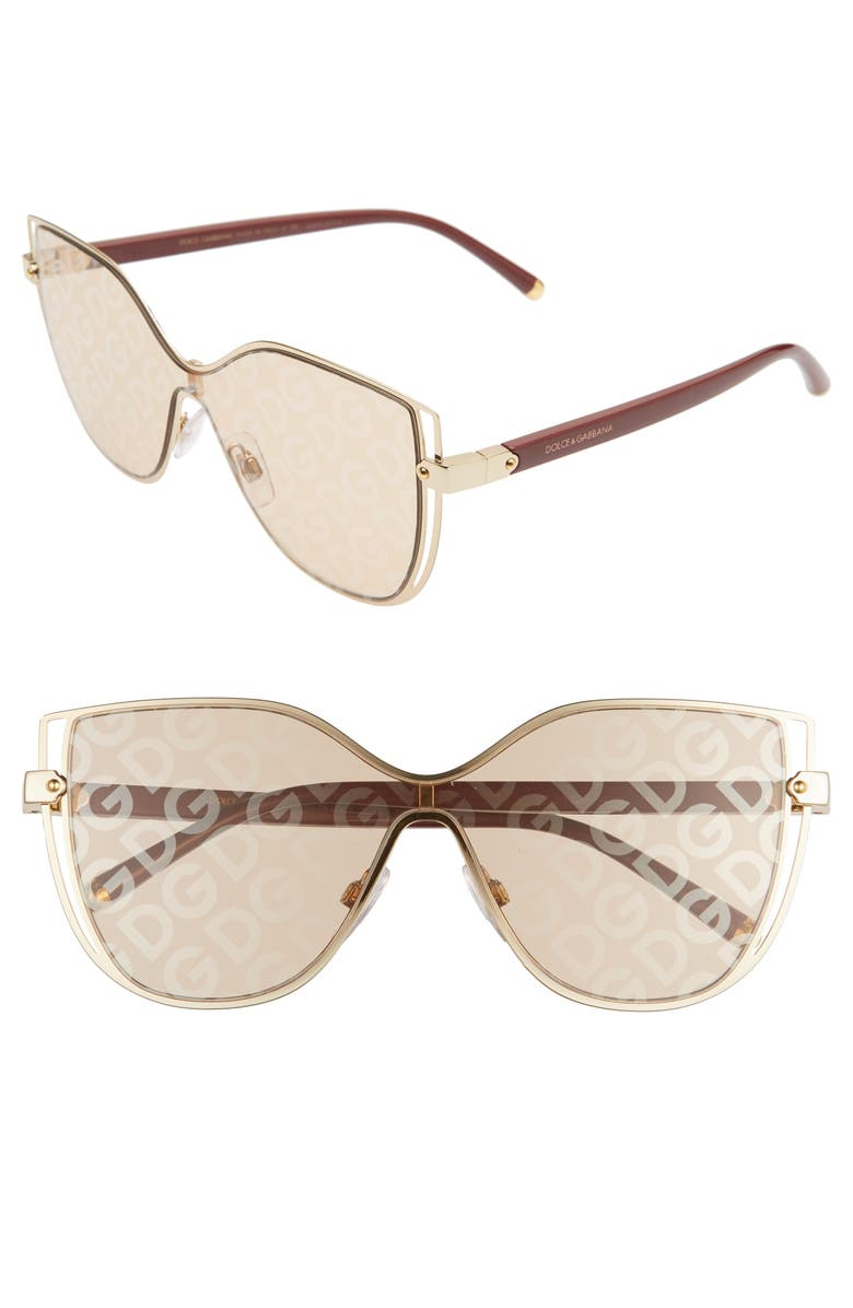 DOLCE&GABBANA 128mm Cat Eye Sunglasses, Main, color, LIGHT BROWN SOLID