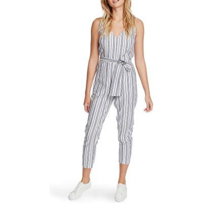 1.state Stripe Tapered Leg Jumpsuit, White