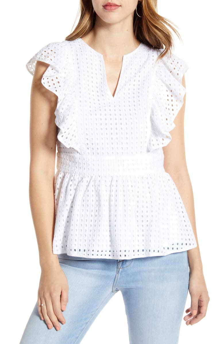 petite Cotton Eyelet Peplum Top