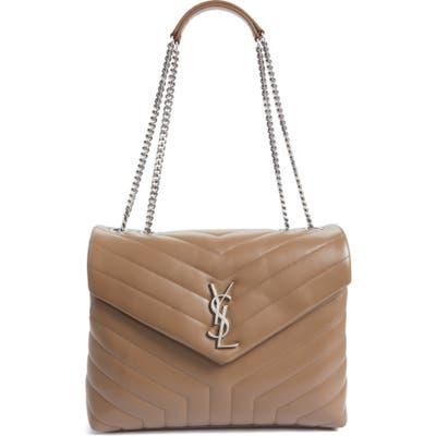 Saint Laurent Medium Loulou Calfskin Leather Shoulder Bag - Beige