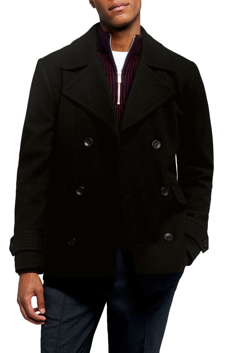TOPMAN Double Breasted Peacoat, Main, color, BLACK