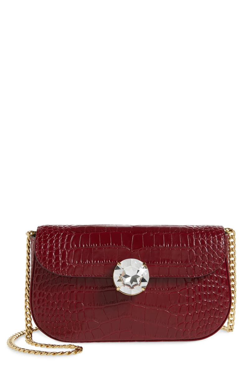MIU MIU Wallet-On-A-Chain Shoulder Bag, Main, color, RUBINO