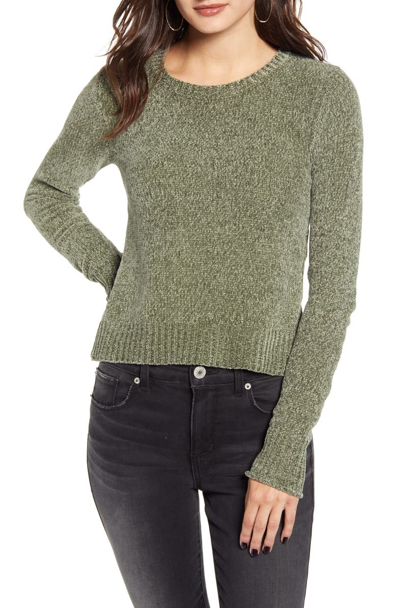 LOVE BY DESIGN Chenille Sweater, Main, color, OLIVE