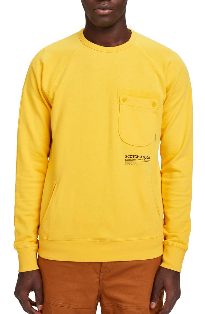 SCOTCH & SODA Pocket Crewneck Sweatshirt, Main, color, BARN YELLOW