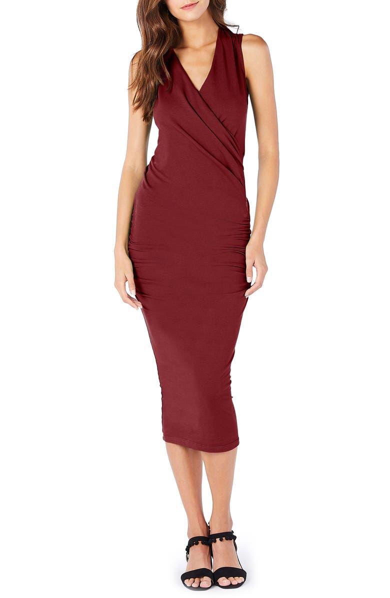 MICHAEL STARS Faux Wrap Midi Dress, Main, color, PINOT