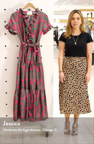 Long & Sassy Print Silk Twill Dress, sales video thumbnail