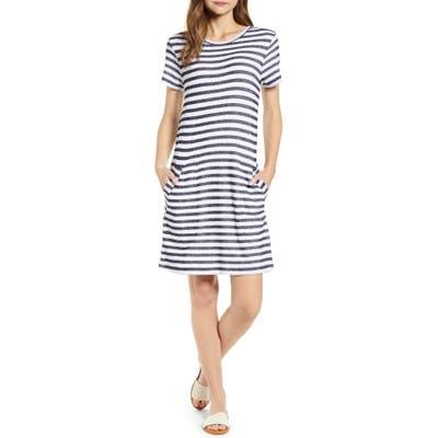 Caslon Stripe T-Shirt Dress, Blue