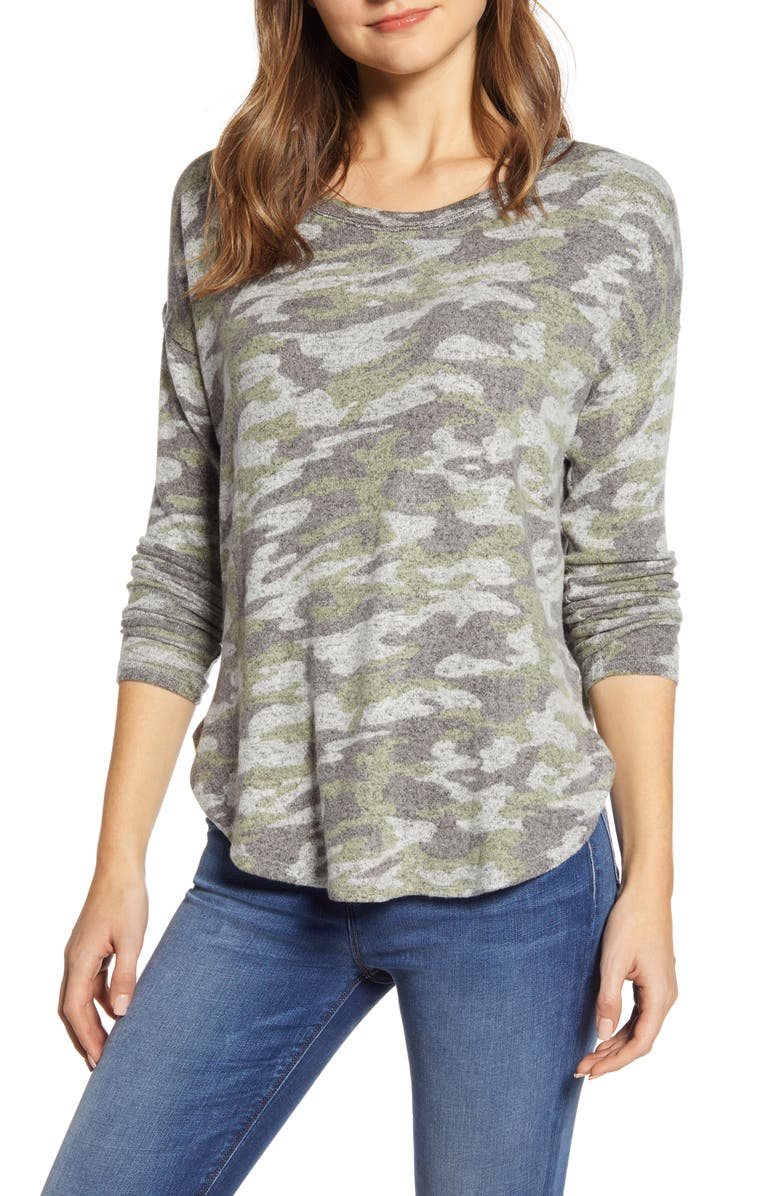 BOBEAU Rib Long Sleeve Fuzzy Top, Main, color, CAMO OLIVE