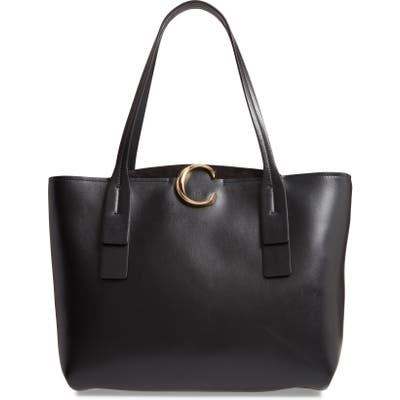 Chloe Medium C Calfskin Leather Tote - Black