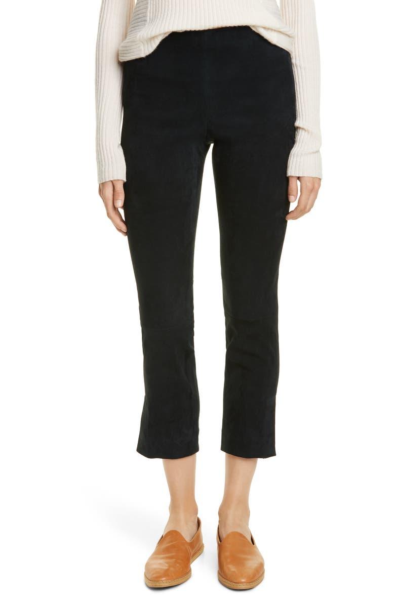 VINCE Split Hem Stretch Suede Crop Pants, Main, color, DARK WATERCRESS