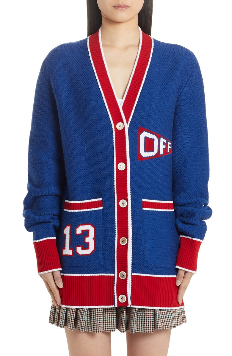 OFF-WHITE Flag Cardigan, Main, color, BLUE RED