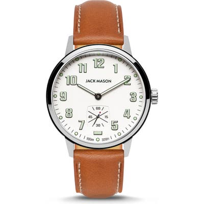 Jack Mason Field Sub Second Leather Strap Watch, 42Mm