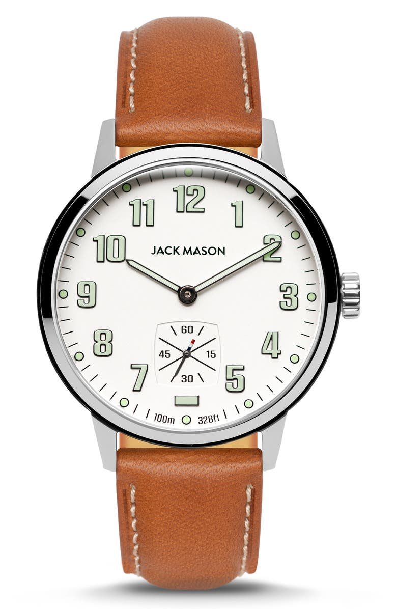 JACK MASON Field Sub Second Leather Strap Watch, 42mm, Main, color, WHITE