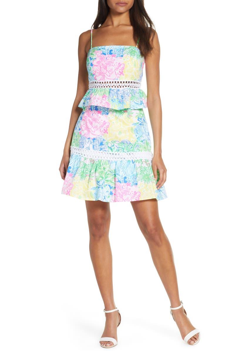 LILLY PULITZER<SUP>®</SUP> Jan Peplum Crop Top & Skirt Set, Main, color, MULTI CHEEK TO CHEEK