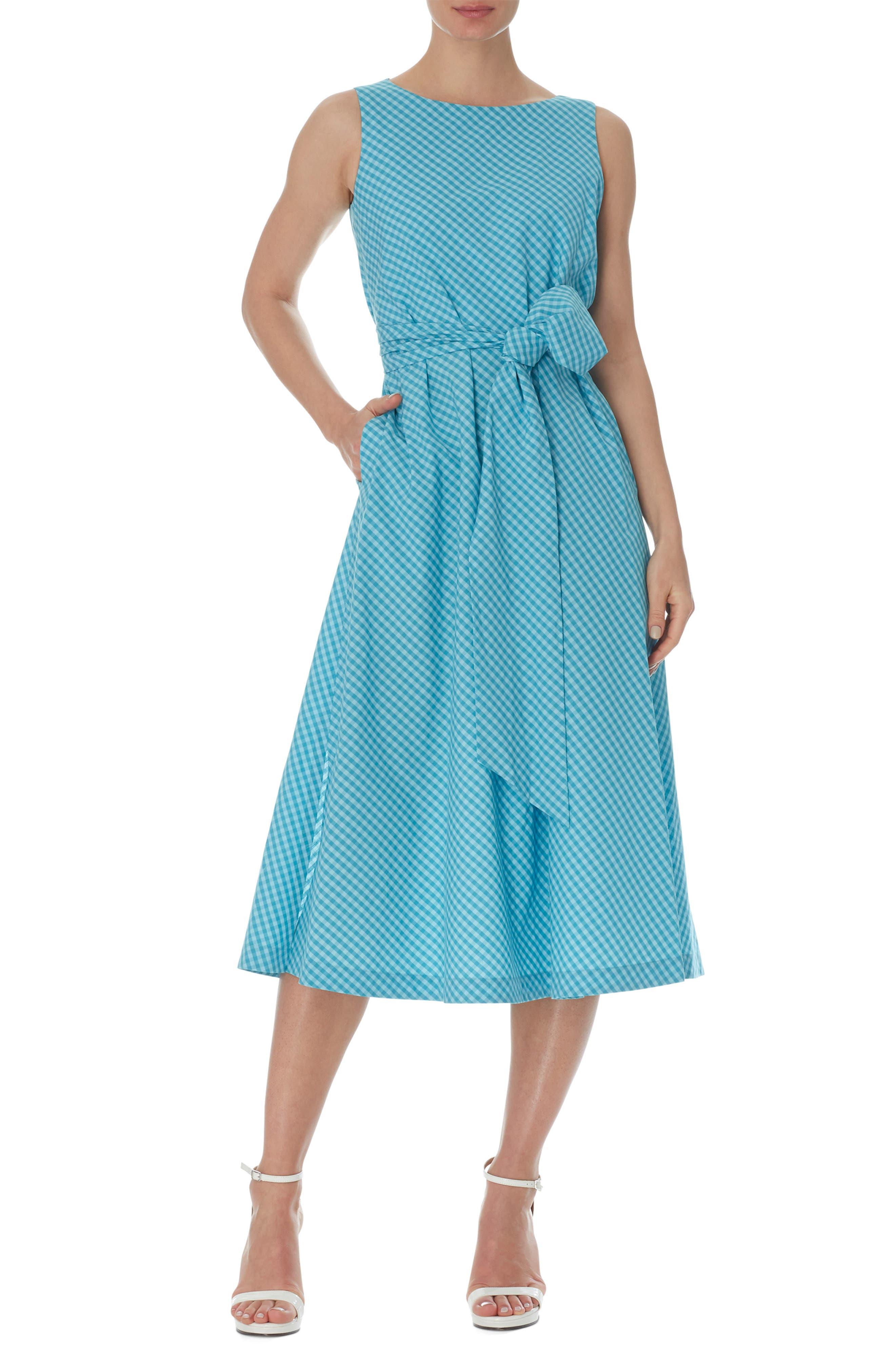 Mini Check Tie Waist Sleeveless Midi Dress