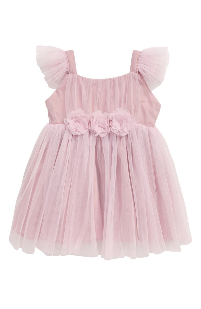 POPATU Tulle Flower Flutter Sleeve Dress, Main, color, DUSTY PINK