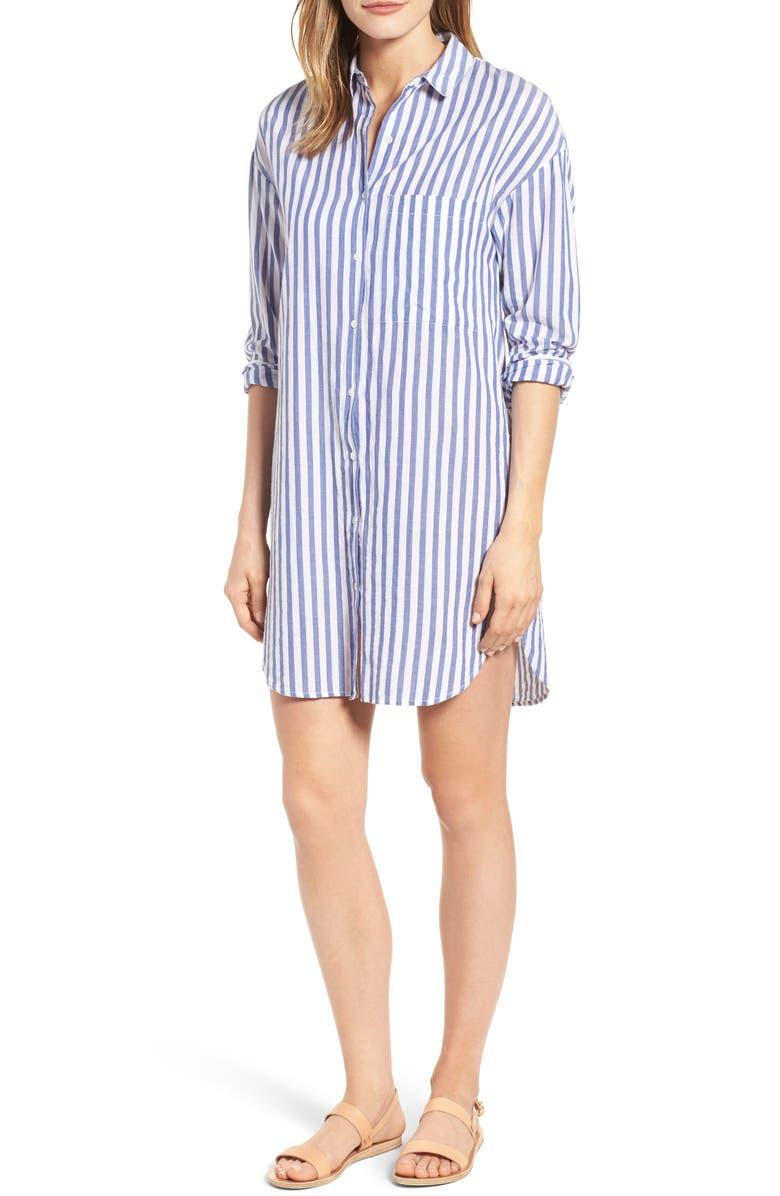 VELVET BY GRAHAM & SPENCER Stripe Cotton Shirtdress, Main, color, 412