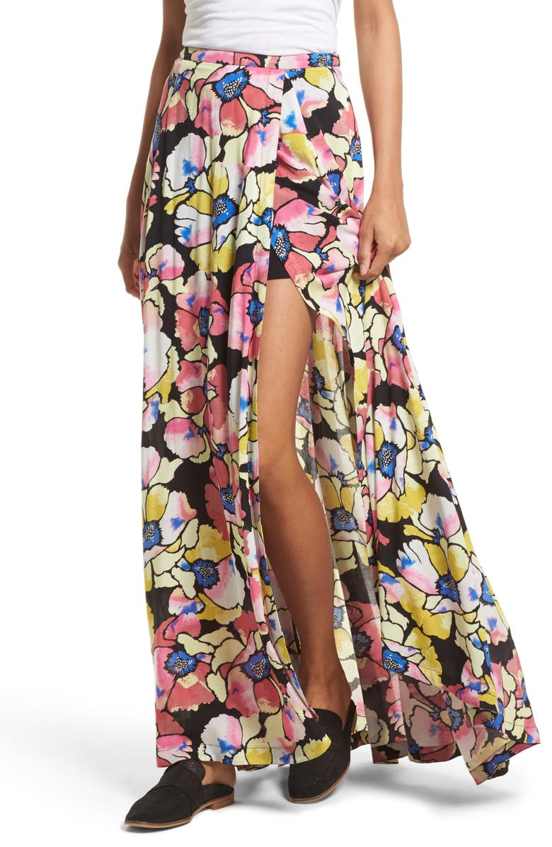 FREE PEOPLE Hot Tropics Maxi Skirt, Main, color, 001