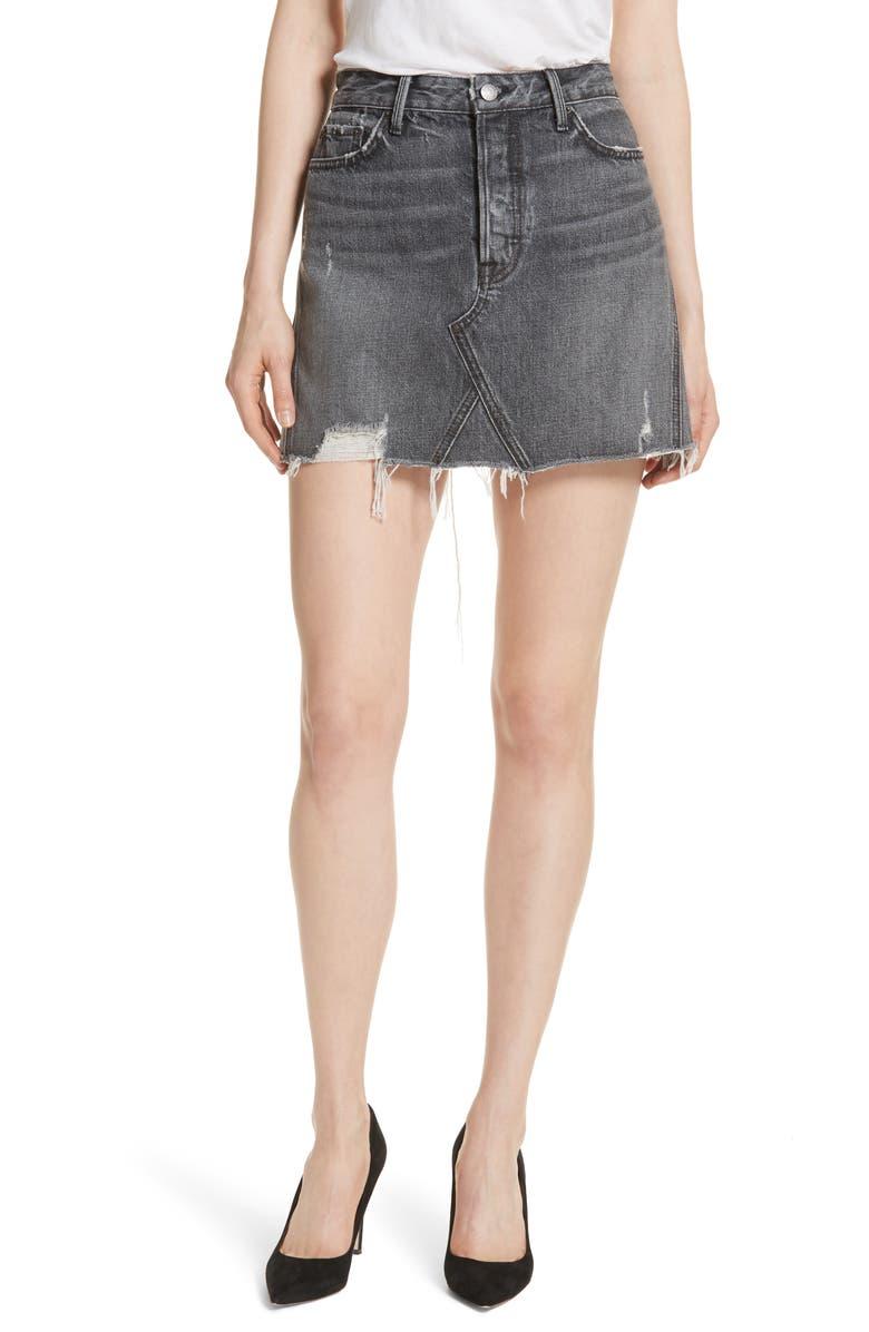 GRLFRND Eva A-Frame Gusset Denim Skirt, Main, color, 074