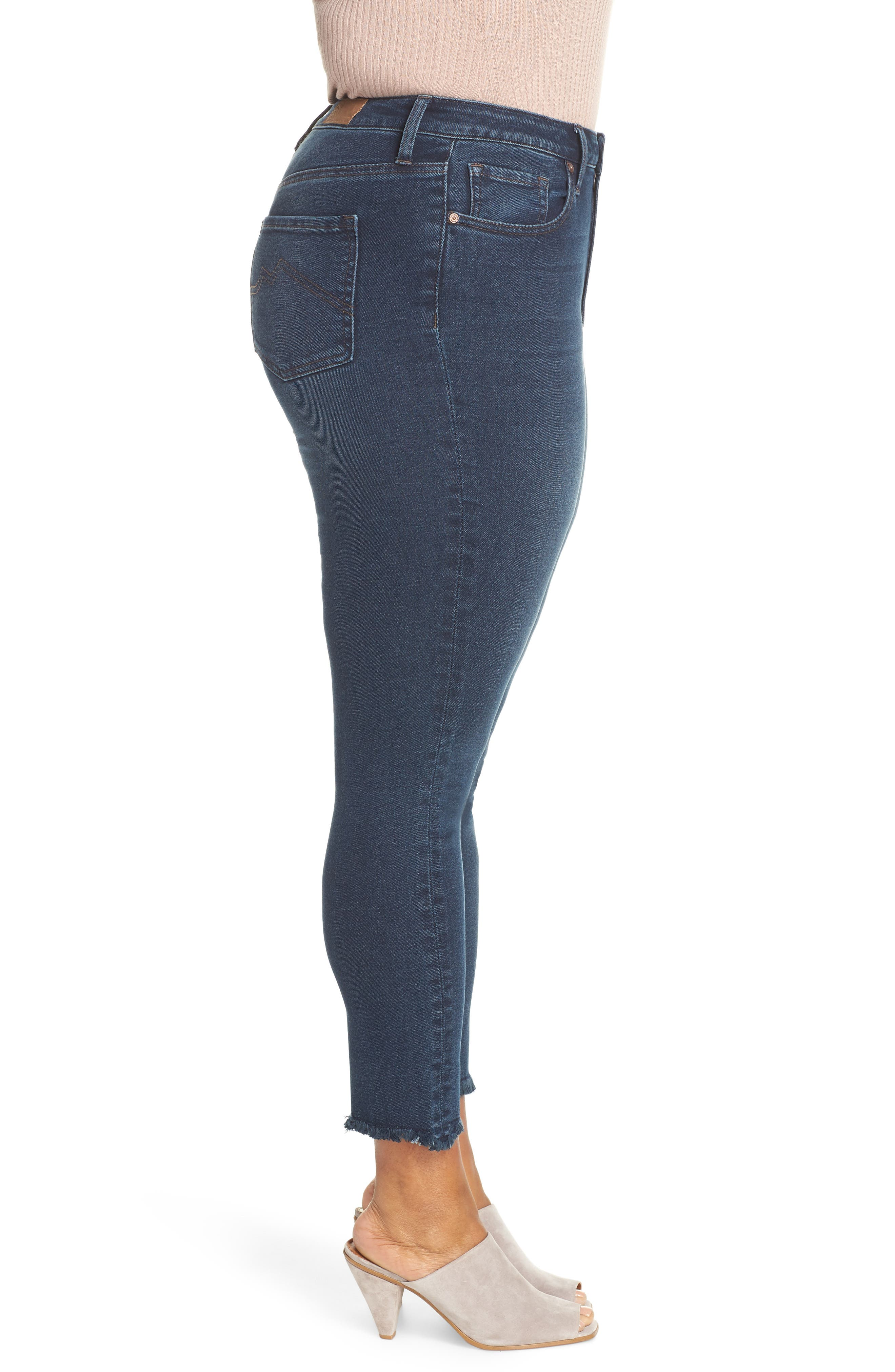 ,                             Perfect Vintage High Waist Core Fringe Hem Skinny Jeans,                             Alternate thumbnail 4, color,                             WINSTON