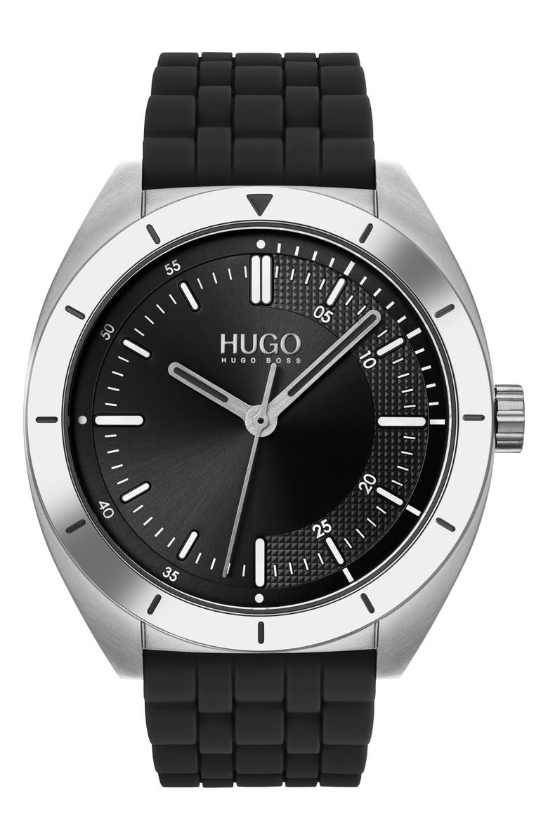 HUGO Style Rubber Strap Watch, 42mm, Main, color, BLACK