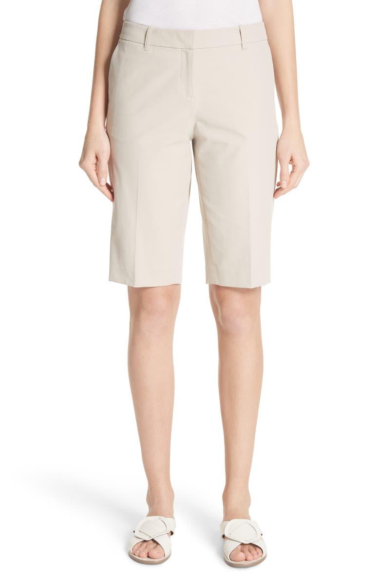 LAFAYETTE 148 NEW YORK Manhattan Bermuda Shorts, Main, color, KHAKI