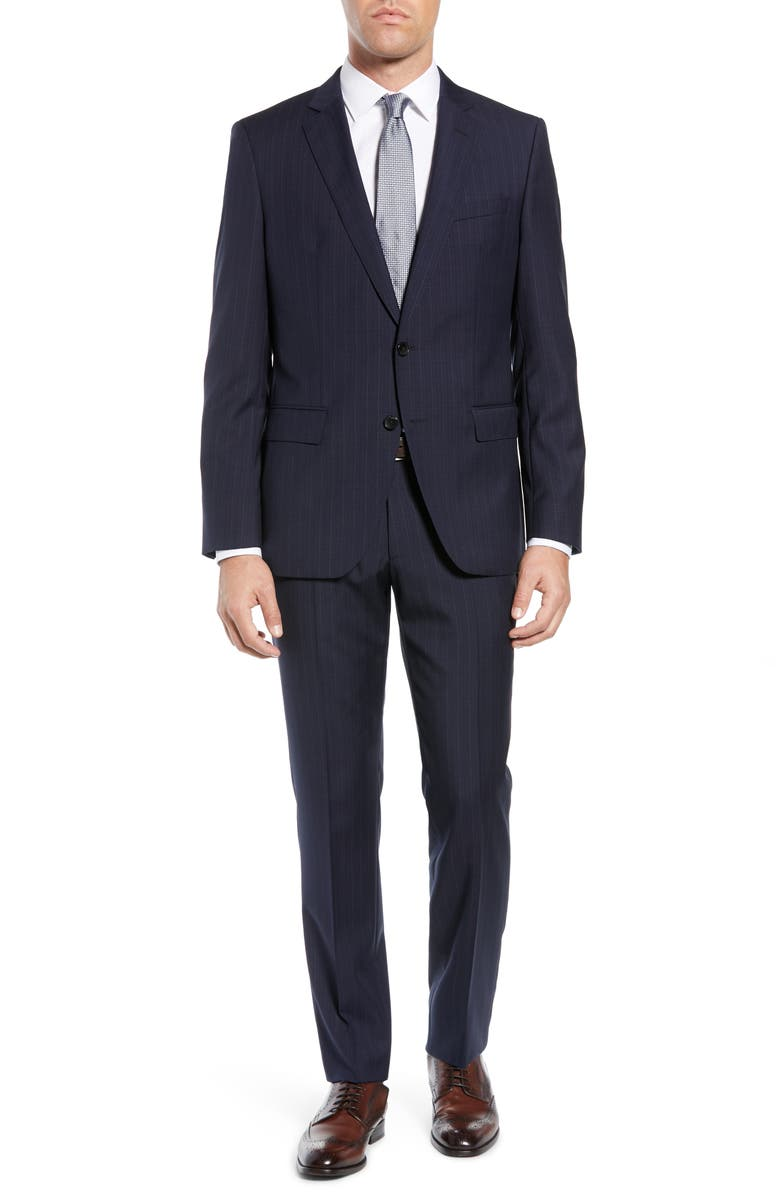 BOSS Huge/Genius Slim Fit Plaid Wool Suit, Main, color, 410