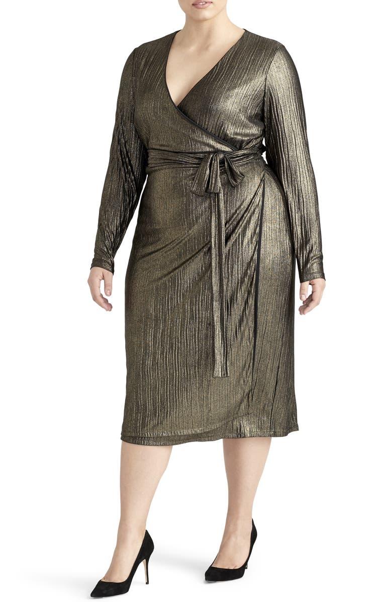RACHEL ROY COLLECTION Pleated Metallic Wrap Dress, Main, color, 001