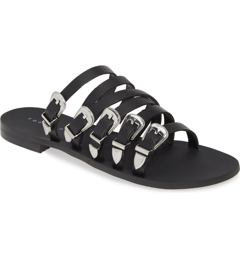 TOPSHOP Heston Slide Sandal, Main, color, BLACK