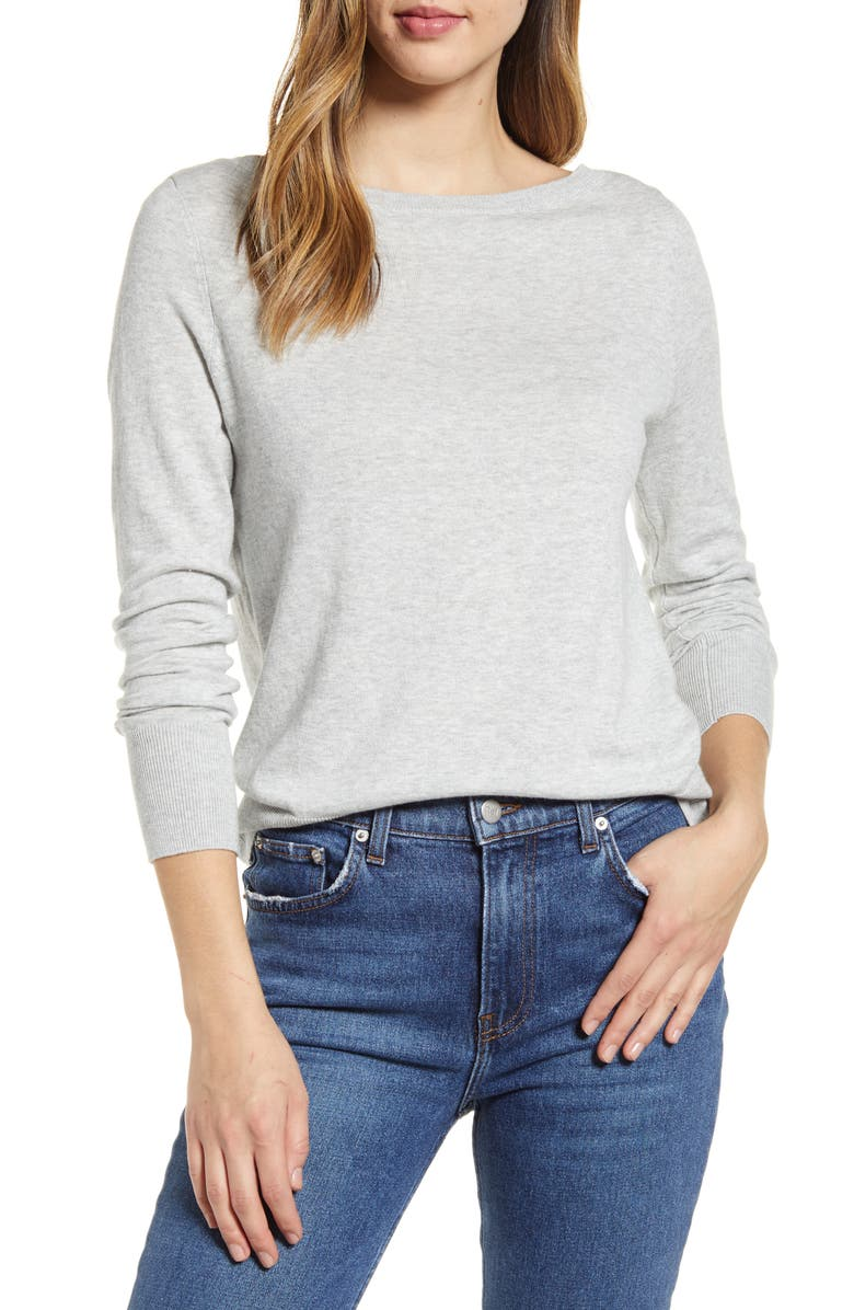 HALOGEN<SUP>®</SUP> Boat Neck Sweater, Main, color, GREY LIGHT HEATHER