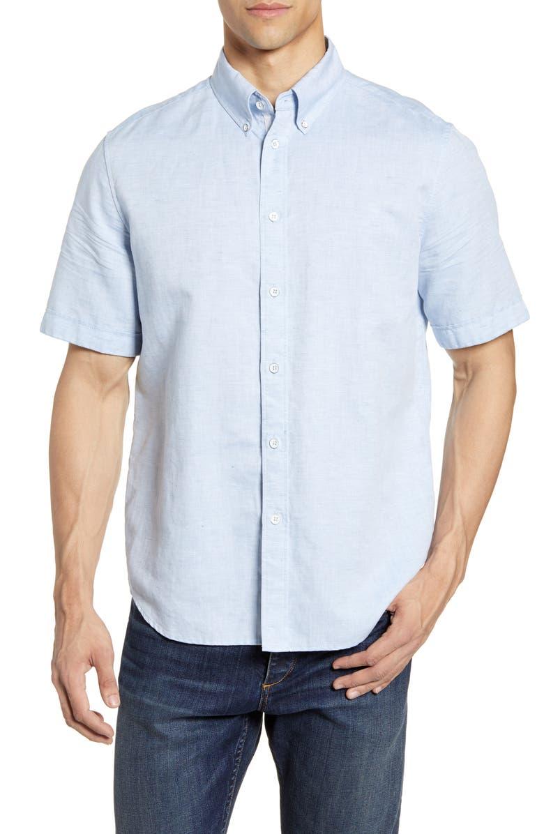 RAG & BONE Smith Slim Fit Solid Short Sleeve Button-Down Shirt, Main, color, L.BLU