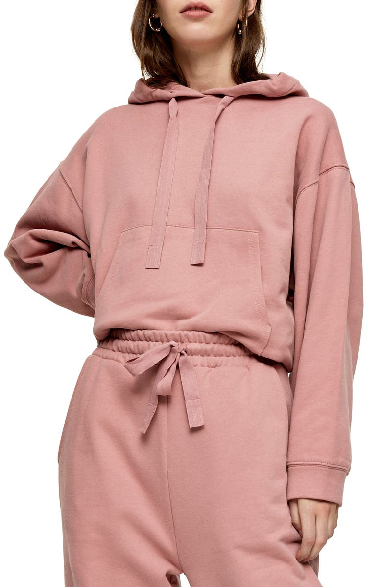 TOPSHOP Organic Cotton Hoodie, Main, color, PINK
