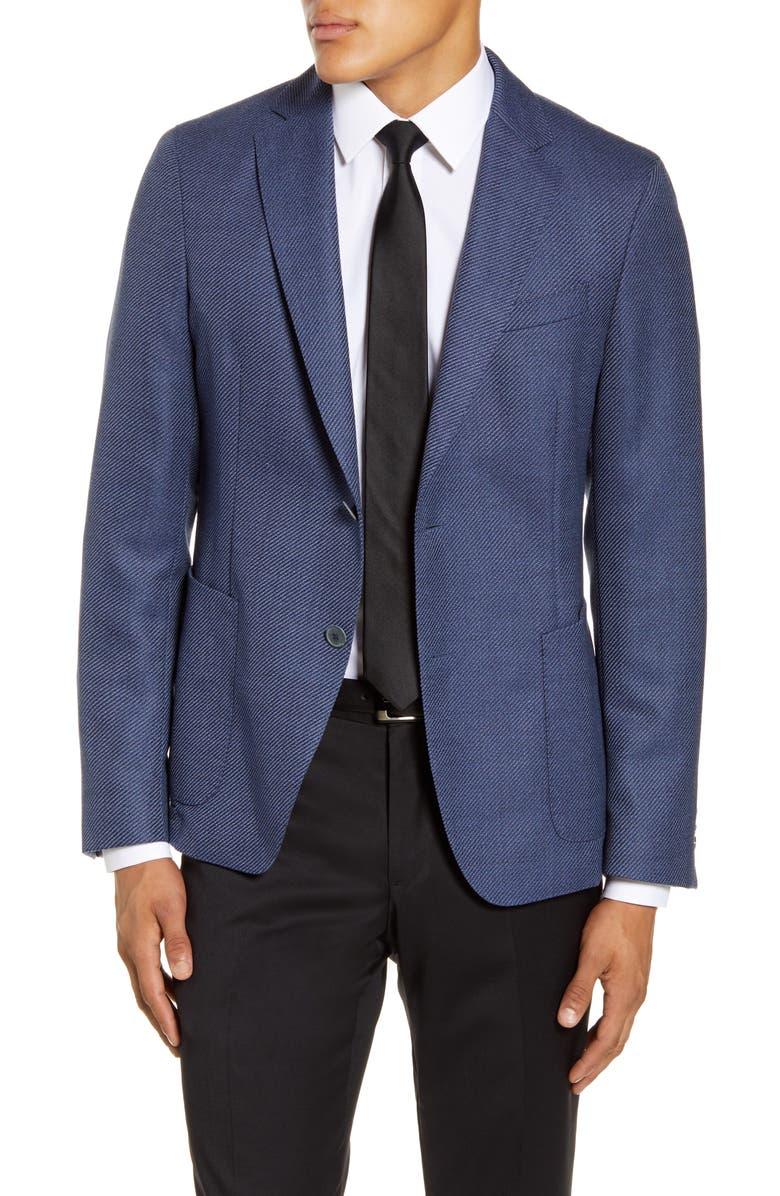 BOSS Nold Trim Fit Wool Sport Coat, Main, color, NAVY